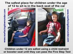 The importance of keeping children under 12 in the back seat of the car - Rear-Facing Down Under Step Test, Info Graphics, Back Seat, Safety Tips, Children, Kids, Car Seats, Infant, Education