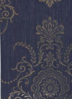Castle Minuet Blue Damask Wallpaper