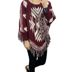 Women Poncho Cape Pullover Sweater Loose Fit Tassel Red
