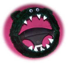 Monster Roar Bottle Dark Green steering wheel cover faux fur fluffy furry fuzzy car truck van jeep cute googly eyes teeth dragon truck suv fun van