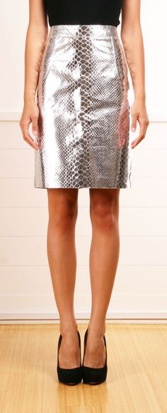 Metallic silver crocodile embossed faux-snakeskin fabric skirt with black top and heels.. Buy the supplies to make this: http://mjtrends.com/pins.php?name=snakeskin-crocodile-print-fabric-for-skirts