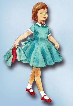 1950s Vintage Simplicity Sewing Pattern 1701 Toddler Girls Empire Dress Size 6 #Simplicity #DressPattern