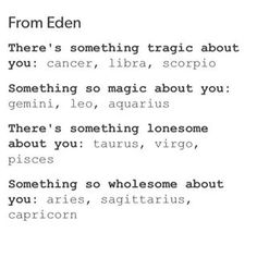From Eden: zodiac