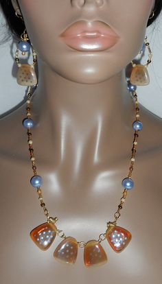 Blue Glass Pearl and Tan Earring and Necklace Set by JaymoJewels, $28.00