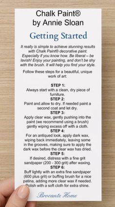 ANNIE SLOAN TIPS & TUTORIALS CARD EXCLUSIVELY AT BROCANTE HOME                                                                                                                                                                                 More