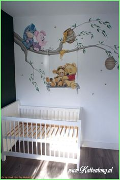 Baby Nursery Girl - Peinture murale: Baby Pooh and Friends. - Baby Nursery Girl – Peinture murale: Baby Pooh and Friends. Baby Bedroom, Baby Boy Rooms, Baby Boy Nurseries, Nursery Room, Girl Nursery, Girl Room, Disney Baby Nurseries, Disney Themed Nursery, Lion King Nursery