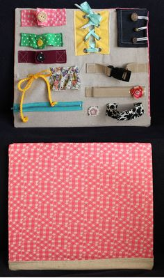 DIY Busy Board! laces, buckle, velcro, zipper, button, etc. -- We're a ways off still, but I think it's an awesome idea. I'm going to look into doing it for the kids for sure.