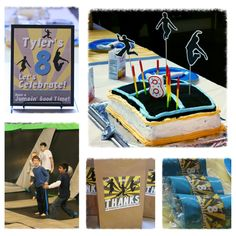 """Pinner says: Here's what I ended up doing for my son's birthday party. I designed all of the pieces to coordinate. We used crushed Oreo cookies to make the """"trampoline"""" on top of the cake. It was a hit! Trampoline Birthday Party, Boy Birthday Parties, 8th Birthday, Birthday Cakes, Birthday Ideas, Happy Birthday, Gymnastics Party, Candy Bar Party, Party Time"""