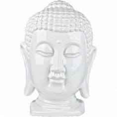 100 Essentials White Ceramic Buddha Head ($38) ❤ liked on Polyvore featuring home, home decor, fillers, white, white fillers, decor, magazine, white home accessories, buddha home decor and inspirational home decor