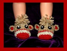 Crochet Baby Sock Monkey Booties designed by Cathy Ren ~ the pattern for these adorable booties is available on Ravelry