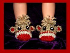 Sock Monkey Crochet Booties