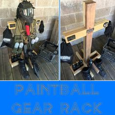 Easy DIY Paintball Tactical Gear Rack - convenient storage for your gear. Plus it looks like a short monster in your garage, so you have the added bonus of startling the wife. #paintball #woodsball #tactical #gear #rack #906 #brushape