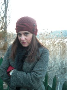 Womens Hat   Knit hat  Valentines day  Rust Orange Cloche by Ebruk, $45.00