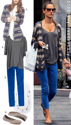 Fall Everyday Outfit: Grey & Beige Striped Cardigan/Cardi + Grey/Gray Slouchy Shirt/Tee/T-Shirt + Cobalt Blue/Royal Blue Rolled-up Skinnies + Grey/Gray Flats