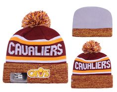 0a086d1eed8 New Era Cleveland Cavaliers Adult Knit Cap Hat Toboggan With Embroidered  Circular Logo On Cuff And String Pom Ball On Top