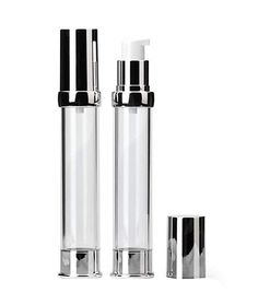 Plastic Airless Pump Bottle Vacuum Travel Container Make up Dispenser with Silver Aluminum Cap and Internal Pressure Plug for Cream Lotion Emulsion Empty Refillable Empty, Plugs, Lotion, Eyeliner, Container, Make Up, Cap, Plastic, Amazon