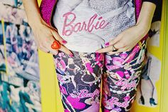 Miss Selfridge Barbie all over print leggings and Tshirt close up by Shiny Thoughts, via Flickr