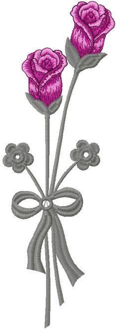 Long stem rose free embroidery design - Flowers free machine embroidery designs - Machine embroidery community