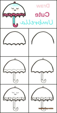 Learn to draw a cute umbrella step by step ♥ very easy . Learn to draw a cute umbrella step by step . Easy Drawing Tutorial, Easy Drawing Steps, Step By Step Drawing, Doodle Art For Beginners, Easy Drawings For Beginners, Easy Drawings For Kids, Drawing For Kids, Art For Kids, Drawing Tutorials For Kids