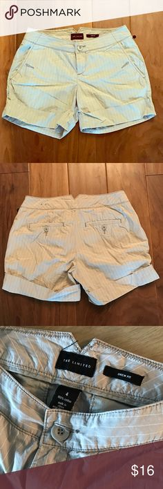 The Limited drew fit cuffed pinstripe shorts, sz 4 The Limited drew fit cuffed pinstripe shorts, sz 4. The shorts are in great used condition, and are a khaki color with white pinstripes. Waist measures 30 inches, inseam measures 4.5 inches. The Limited Shorts