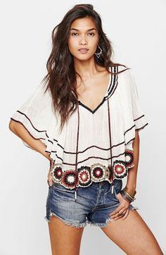 Free People Top & Denim Cutoffs