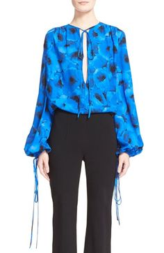 MICHAEL KORS Poppy Print Tie Neck Silk Blouse. #michaelkors #cloth #