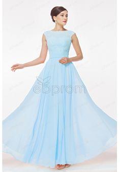 Cap Sleeves Light Blue Modest Bridesmaid Dresses with Lace Appliques