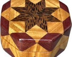 Caja hexagonal pequeña agitación por woodmosaics en Etsy