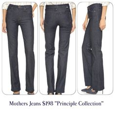 Mother Jeans, NEW size 27, dark denim A hint of stretch lends modern appeal to vintage-inspired MOTHER straight-leg jeans from The Principle Collection. 5-pocket styling. Single-button closure and zip fly. 9.8-inch (25-centimeter) rise.  Fabric: Stretch denim. 93% cotton/5% polyester/2% elastane. Wash cold. Made in the USA. Imported materials.  Measurements Inseam: 33in / 84cm Leg opening: 17.25in / 44cm Measurements from size 27 Mother Jeans Straight Leg