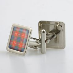 Steel cufflinks set with resin domed tartan - only from ScotClans. The cufflinks are set with a resin domed cabochon in the chosen tartan. Set comes in a metallic finish box. Pictured: Ancient, Hunting Ancient, Hunting Modern, Lovat Modern, Modern