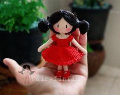 Crochet girl doll Red Dress от FairyFinFin на Etsy