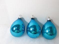 Shiny Brite Christmas Ornaments Teardrop Peacock by GirlPickers