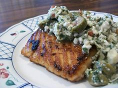 South Beach Diet Grilled Salmon With Artichoke Salsa from Food.com:   This is a Phase 1 dish.
