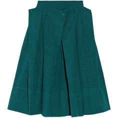 Tibi Riko cotton-eyelet midi skirt (£150) ❤ liked on Polyvore featuring skirts, tibi, emerald, layered skirt, calf length skirts, blue skirt, cotton midi skirt and mid calf skirts