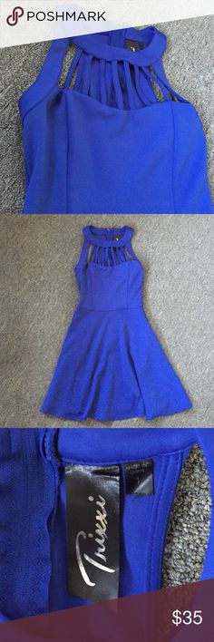 Royal Blue Skater Dress Adorable Royal blue dress from Macys. The brand Trixxi, it's a size 1 but can fit a 0. The chest has adorable cut outs and has a zipper in the back that is fully functional. Trixxi Dresses Mini
