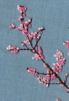 cherry blossom. i freaking need to make a big cherry blossom tree of maybe a forest because the colours are perfect and it would look freaking gorgeous. also, french knots are easy #flowerembroidery