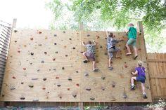 Landscaping Backyard For Kids Climbing Wall Super Ideas Rock Climbing Wedding, Diy Climbing Wall, Rock Climbing Party, Rock Climbing Workout, Kids Climbing, Rock Climbing Walls, Toddler Climbing Wall, Climbing Chalk, Backyard Swings