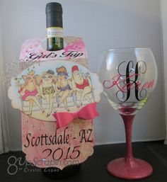 I made wine tags to match the wine glasses , the rubber stamp I used to create this tag is called Girlfriends set… Wine Bottle Tags, Wine Tags, Art Impressions Stamps, General Crafts, Close To My Heart, 3 D, Birthday Cards, Card Making, Paper Crafts