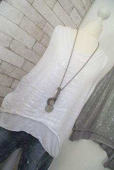 NEU **ESViViD* Top Bluse PAILLETTEN Shirt ITALY weiß onesize 36 38 40