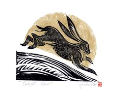 Linocut print 'Sunset hare' by Natalie by TheLakeCornerGallery