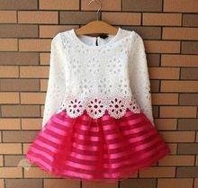 Conjunto de meninas de verão de manga comprida partido listrado rosa vestido de princesa(China (Mainland))