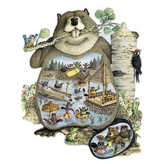 "Busy As A Beaver 300 Large Piece Shaped Jigsaw Puzzle, $18.99, Item #47211    These adventurous beavers have sure been busy building themselves a fun-filled water park. Another adorable shaped comic puzzle by artist Jeffrey Severn, available in two piece counts. Each measures 20"" x 25""."