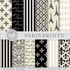 "PARIS Theme VINTAGE BLACK Digital Paper Pack Pattern Prints, Instant Download, 12"" x 12"" Patterns Backgrounds Scrapbook Print"