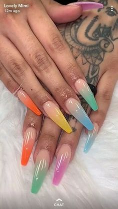 66 fascinating summer nail art designs neon only for you 2 Edgy Nails, Aycrlic Nails, Grunge Nails, Glam Nails, Manicure, Coffin Nails, Stylish Nails, Halloween Acrylic Nails, Summer Acrylic Nails