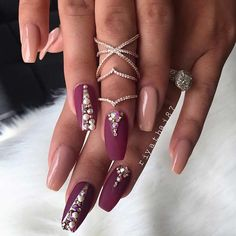 Matte Burgundy and Nude Coffin Nails