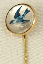 Antique stick pin, gold with Essex crystal