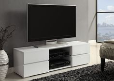 "$359 Jennifer Convertibles: Sofas, Sofa Beds, Bedrooms, Dining Rooms & More! White TV Console. 55""L x 15.75""W x 15.75""H"