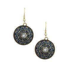 Catalina Blue Artifact Dangle Statement Earrings