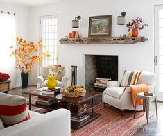 Transform your fireplace from fine to fantastic with these rustic fireplace mantels--each brimming with hearth-warming character. Fall Living Room, Living Room Decor, Living Spaces, Living Rooms, Rustic Fireplace Mantels, Simple Fireplace, Wooden Mantel, Fall Mantels, White Fireplace