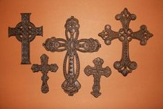 (5), St. Augustine Collection, Cast Iron Crosses, Christianity, Western Decor